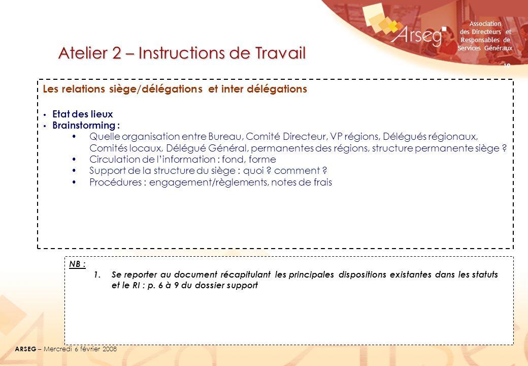 Association des Directeurs et Responsables de Services Généraux ARSEG – Mercredi 6 février 2008 19 Atelier 2 – Instructions de Travail Les relations s