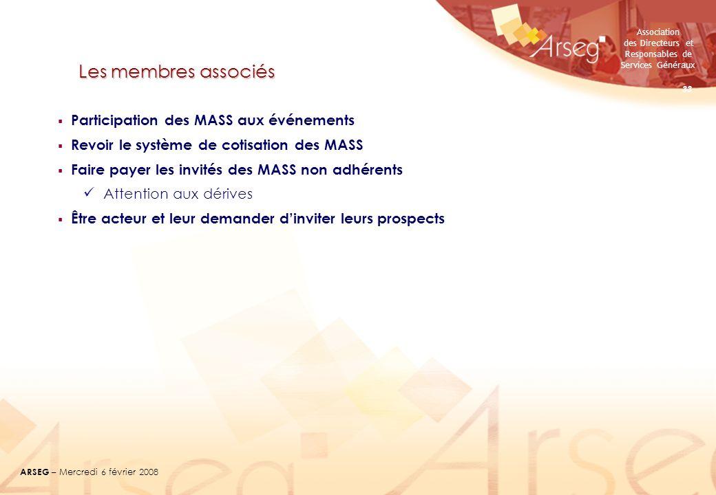 Association des Directeurs et Responsables de Services Généraux ARSEG – Mercredi 6 février 2008 33 Les membres associés Participation des MASS aux évé