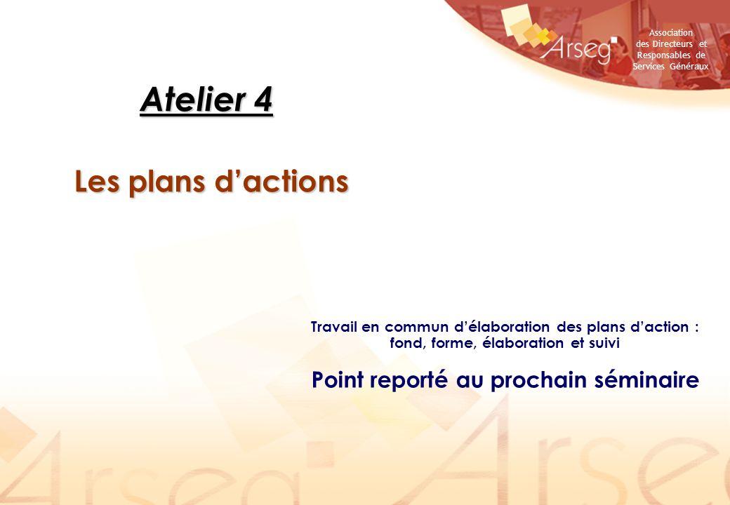 Association des Directeurs et Responsables de Services Généraux Atelier 4 Les plans dactions Travail en commun délaboration des plans daction : fond,