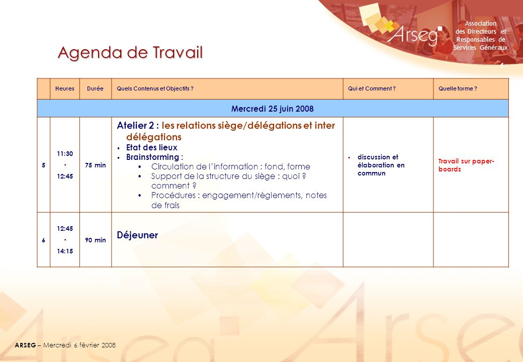 Association des Directeurs et Responsables de Services Généraux ARSEG – Mercredi 6 février 2008 4 Agenda de Travail HeuresDuréeQuels Contenus et Objec
