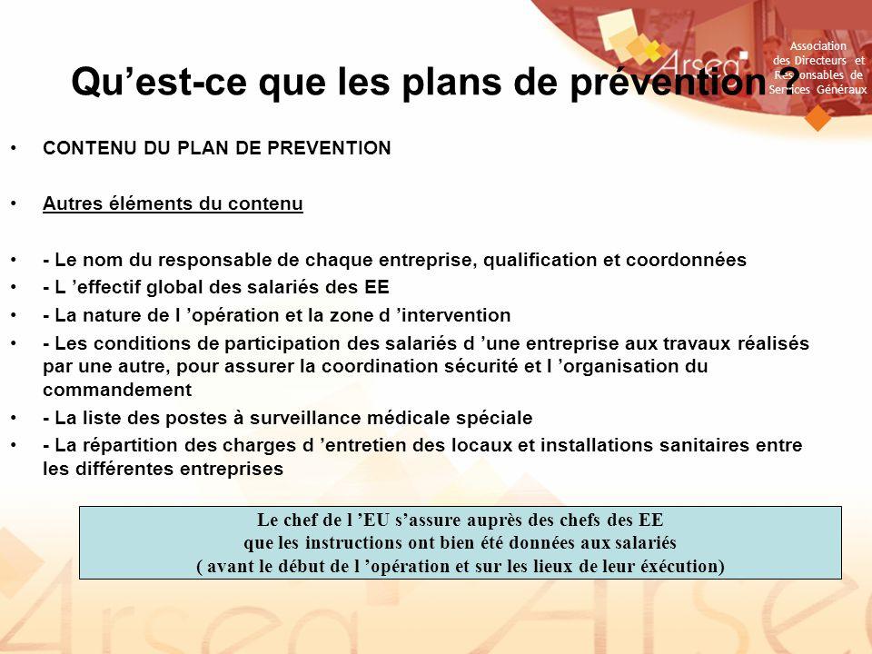 Association des Directeurs et Responsables de Services Généraux Quest-ce que les plans de prévention .