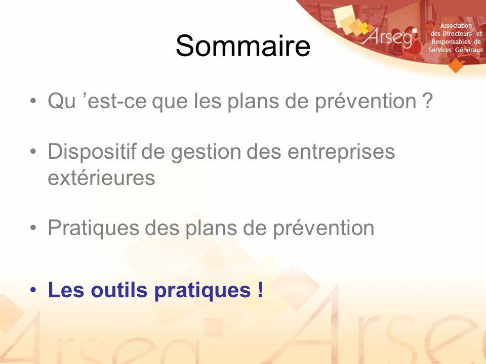 Association des Directeurs et Responsables de Services Généraux Sommaire Qu est-ce que les plans de prévention .