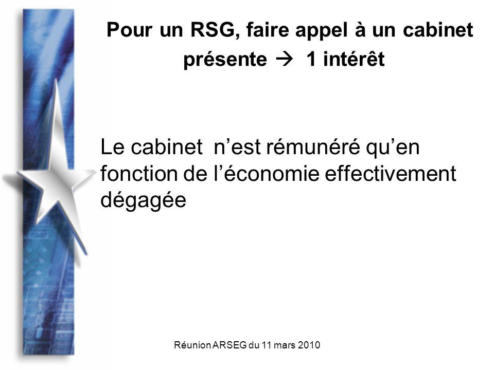 Réunion ARSEG du 11 mars 2010 Le cabinet nest rémunéré quen fonction de léconomie effectivement dégagée Pour un RSG, faire appel à un cabinet présente 1 intérêt