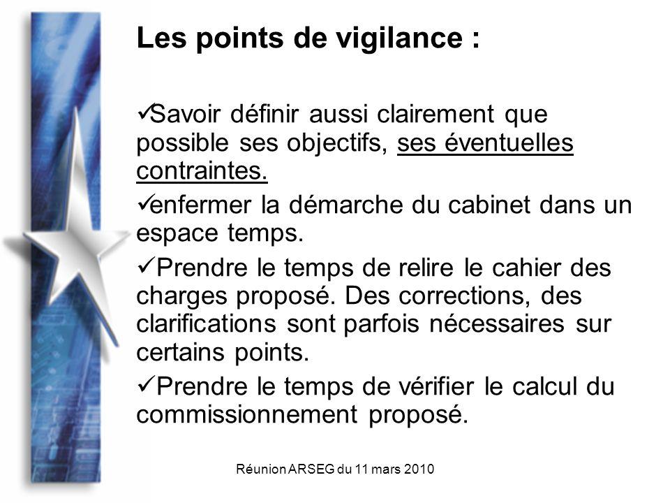 Réunion ARSEG du 11 mars 2010 Les points de vigilance : Savoir définir aussi clairement que possible ses objectifs, ses éventuelles contraintes.