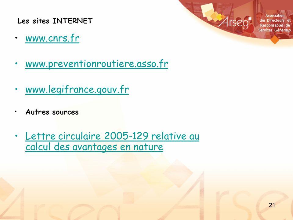 Association des Directeurs et Responsables de Services Généraux 21 Les sites INTERNET www.cnrs.fr www.preventionroutiere.asso.fr www.legifrance.gouv.f