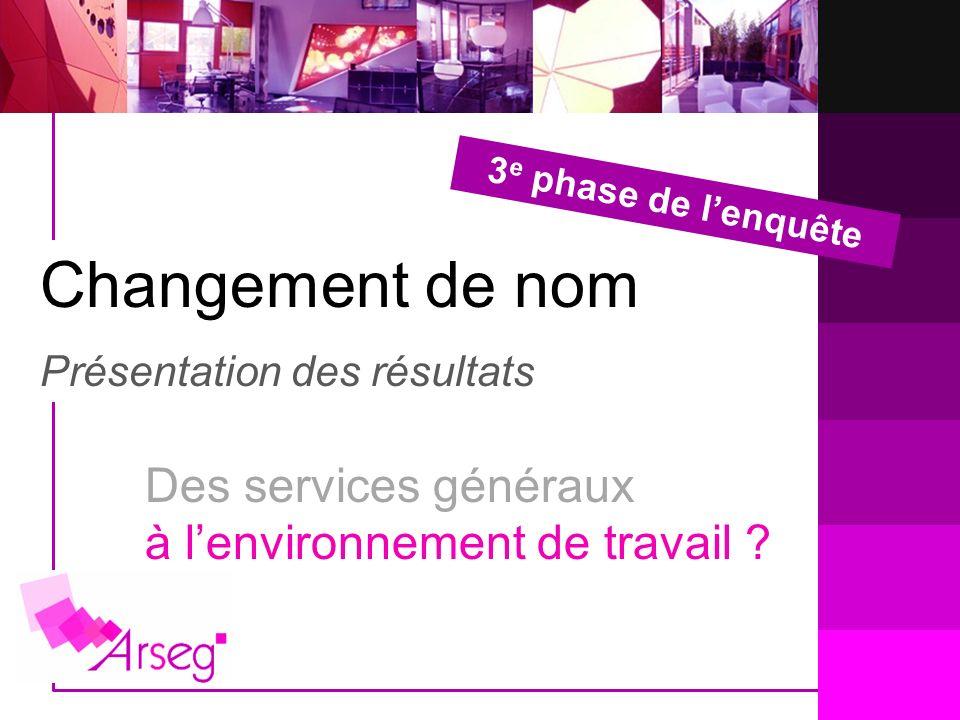 Changement de nom Présentation des résultats 3 e phase de lenquête Des services généraux à lenvironnement de travail ?