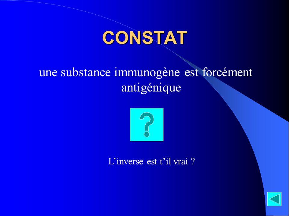CONSTAT une substance immunogène est forcément antigénique Linverse est til vrai ?