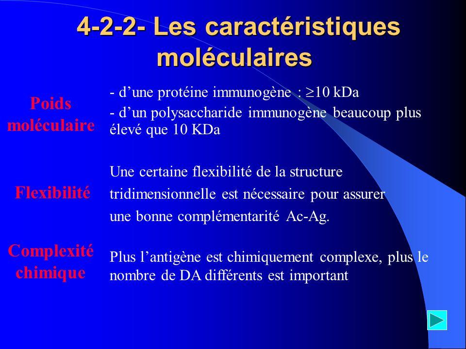 4-2-2- Les caractéristiques moléculaires 4-2-2- Les caractéristiques moléculaires Une certaine flexibilité de la structure tridimensionnelle est néces