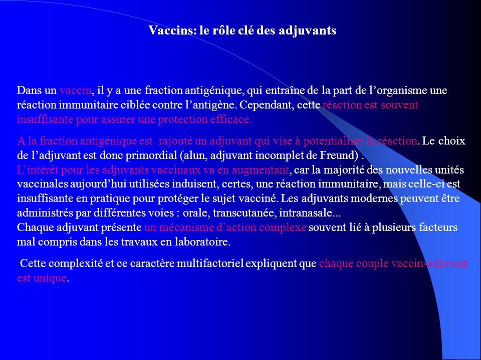 Vaccins: le rôle clé des adjuvants Dans un vaccin, il y a une fraction antigénique, qui entraîne de la part de lorganisme une réaction immunitaire cib