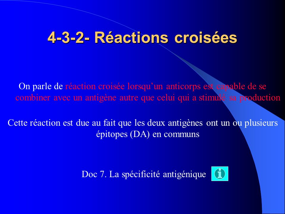 4-3-2- Réactions croisées On parle de réaction croisée lorsquun anticorps est capable de se combiner avec un antigène autre que celui qui a stimulé sa