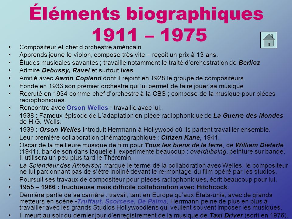 BITHEMATISME Herrmann construit souvent ses musiques de film sur une opposition entre deux thèmes principaux Ces deux thèmes participent le plus souvent de la caractérisation de la dualité des personnages : Kane : le Pouvoir / Rosebud Thornhill/Kaplan – cf.