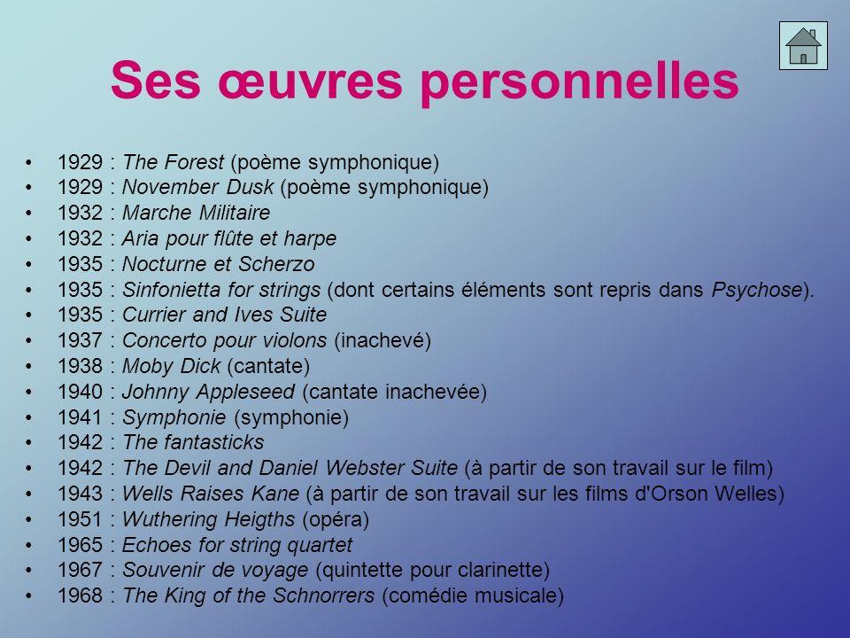 Ses œuvres personnelles 1929 : The Forest (poème symphonique) 1929 : November Dusk (poème symphonique) 1932 : Marche Militaire 1932 : Aria pour flûte