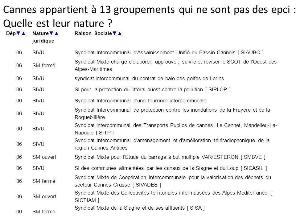 Dép Nature juridique Raison Sociale 06SIVUSyndicat Intercommunal d'Assainissement Unifié du Bassin Cannois [ SIAUBC ] 06SM fermé Syndicat Mixte chargé