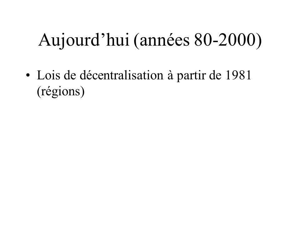 Aujourdhui (années 80-2000) Lois de décentralisation à partir de 1981 (régions)
