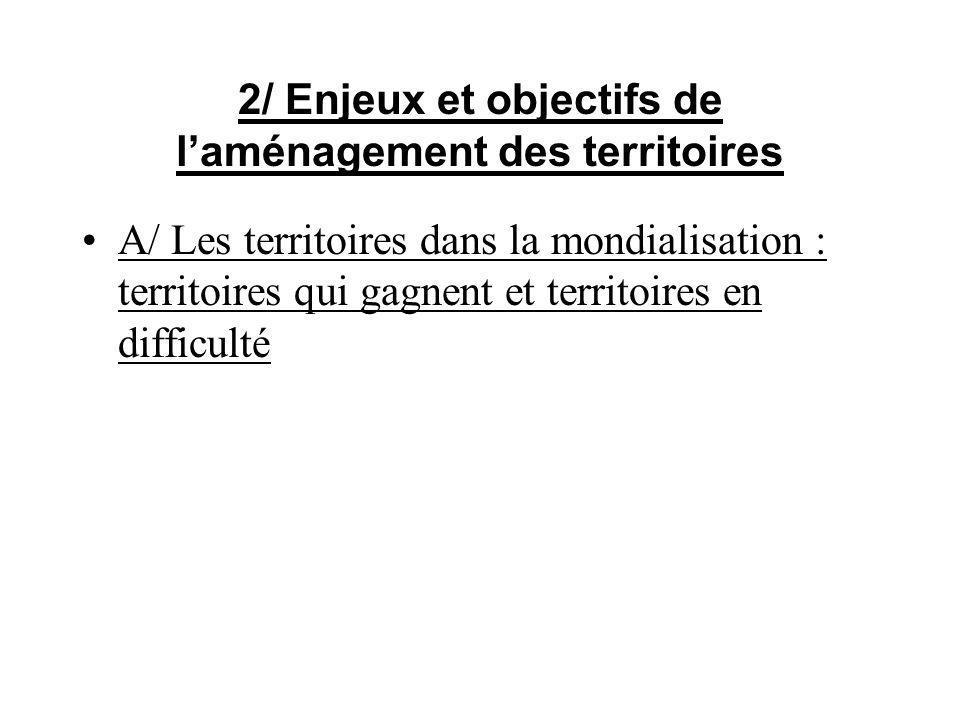 2/ Enjeux et objectifs de laménagement des territoires A/ Les territoires dans la mondialisation : territoires qui gagnent et territoires en difficult