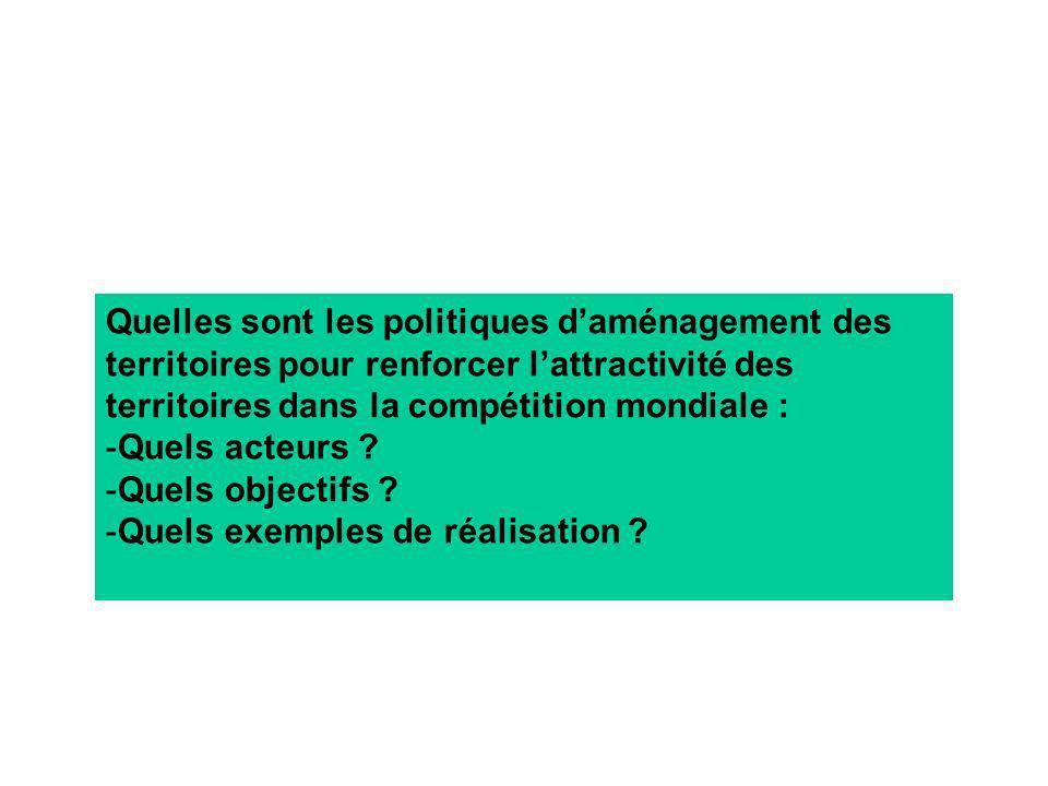 Quelles sont les politiques daménagement des territoires pour renforcer lattractivité des territoires dans la compétition mondiale : -Quels acteurs ?