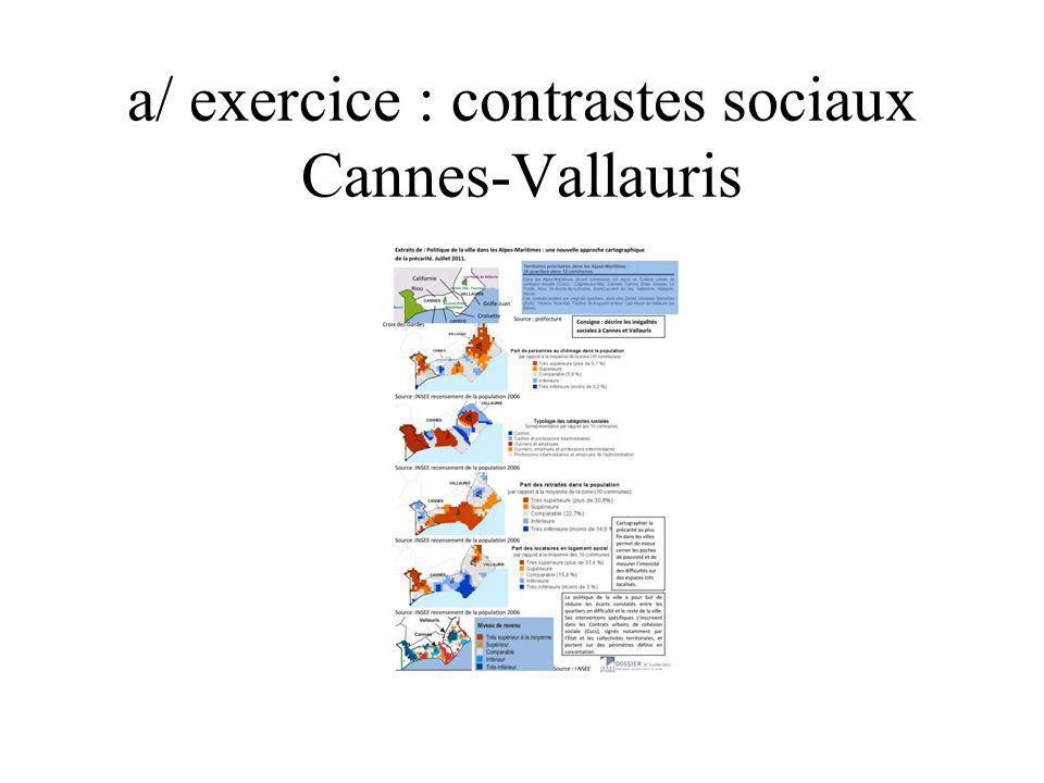 a/ exercice : contrastes sociaux Cannes-Vallauris