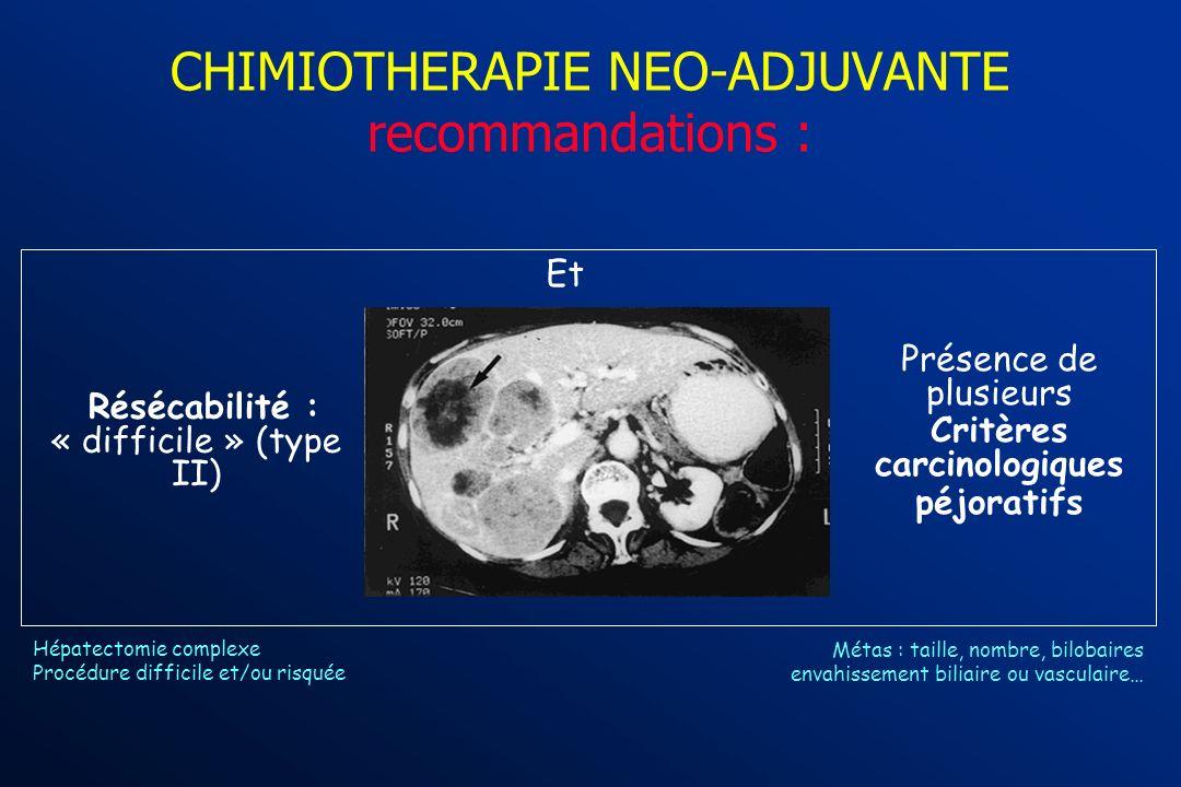 CHIMIOTHERAPIE NEO-ADJUVANTE recommandations : chimiothérapie dintervalle à discuter Accord professionnel Cas particulier : Métastase(s) synchrone(s)