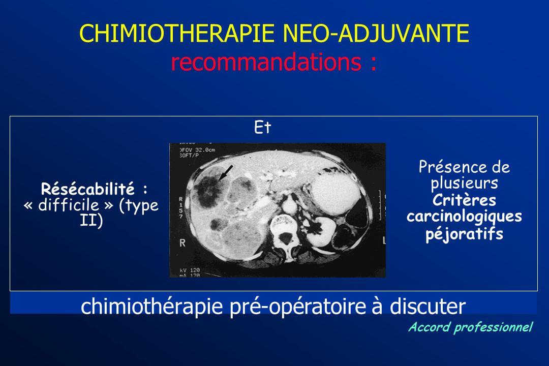 CHIMIOTHERAPIE NEO-ADJUVANTE recommandations : Résécabilité : « difficile » (type II) Et Présence de plusieurs Critères carcinologiques péjoratifs Hép