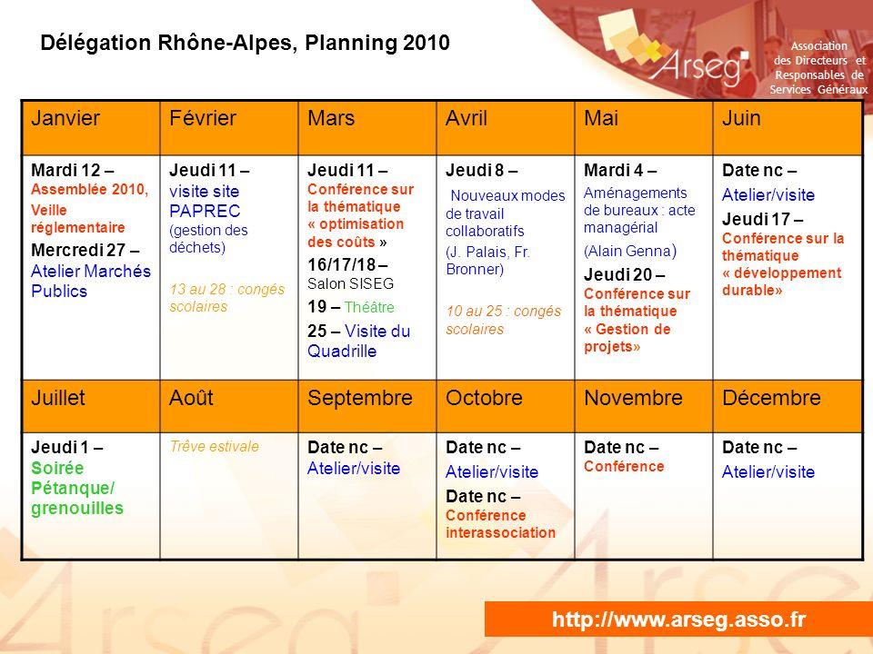 Association des Directeurs et Responsables de Services Généraux NE PAS PROJETER / DIFFUSER Délégation Rhône-Alpes, Planning 2010 JanvierFévrierMarsAvr