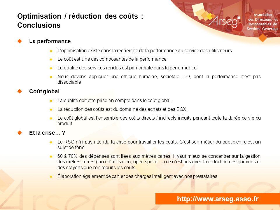 Association des Directeurs et Responsables de Services Généraux NE PAS PROJETER / DIFFUSER La performance Loptimisation existe dans la recherche de la