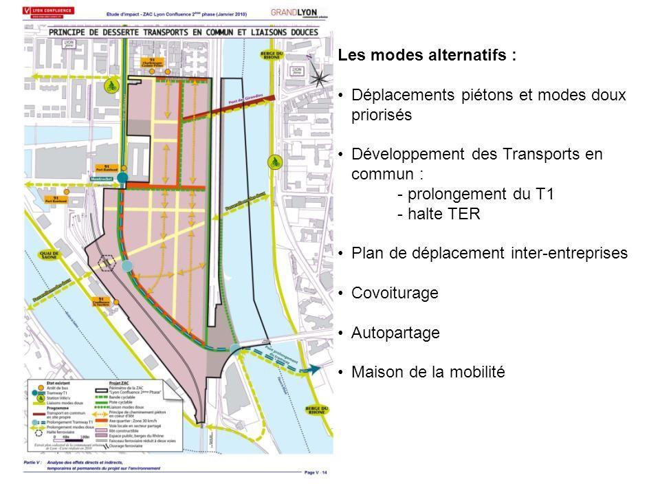 Les modes alternatifs : Déplacements piétons et modes doux priorisés Développement des Transports en commun : - prolongement du T1 - halte TER Plan de