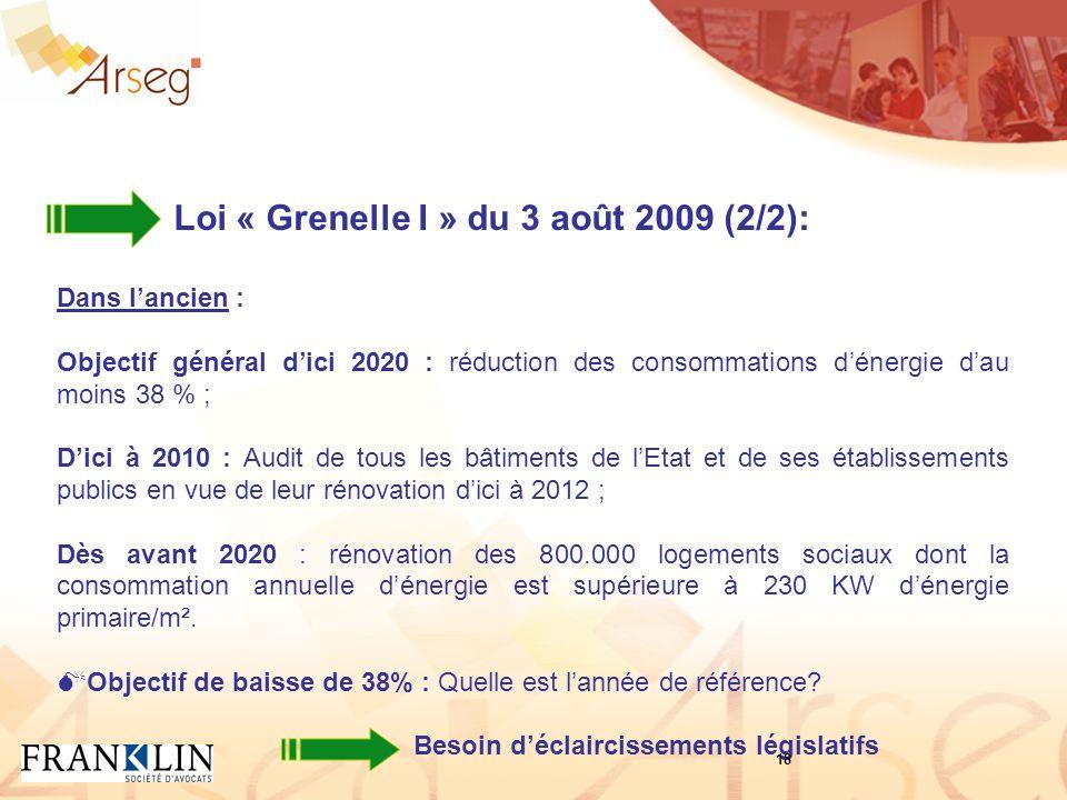 Loi « Grenelle I » du 3 août 2009 (2/2): Dans lancien : Objectif général dici 2020 : réduction des consommations dénergie dau moins 38 % ; Dici à 2010 : Audit de tous les bâtiments de lEtat et de ses établissements publics en vue de leur rénovation dici à 2012 ; Dès avant 2020 : rénovation des 800.000 logements sociaux dont la consommation annuelle dénergie est supérieure à 230 KW dénergie primaire/m².