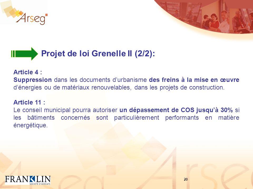 Projet de loi Grenelle II (2/2): Article 4 : Suppression dans les documents durbanisme des freins à la mise en œuvre dénergies ou de matériaux renouvelables, dans les projets de construction.