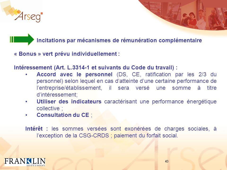 Incitations par mécanismes de rémunération complémentaire « Bonus » vert prévu individuellement : Intéressement (Art.