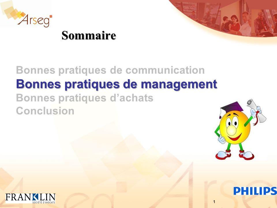 Sommaire Bonnes pratiques de communication Bonnes pratiques de management Bonnes pratiques dachats Conclusion 1
