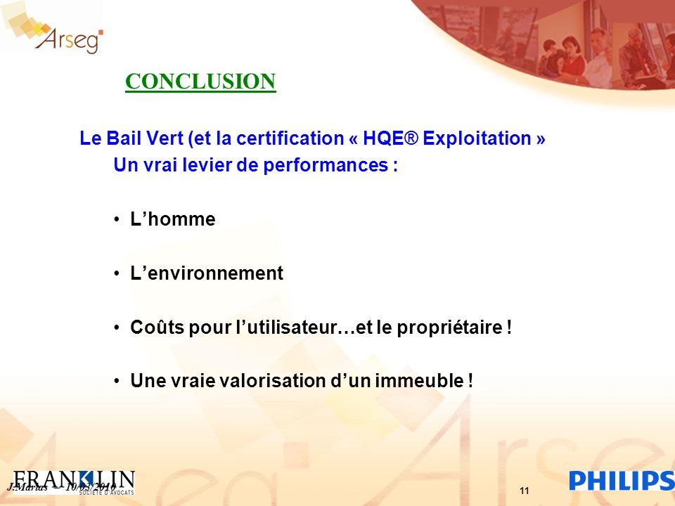 Le Bail Vert (et la certification « HQE® Exploitation » Un vrai levier de performances : Lhomme Lenvironnement Coûts pour lutilisateur…et le propriéta