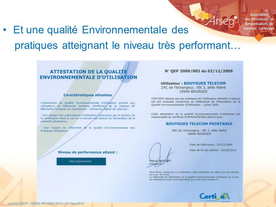 Association des Directeurs et Responsables de Services Généraux Et une qualité Environnementale des pratiques atteignant le niveau très performant… A.
