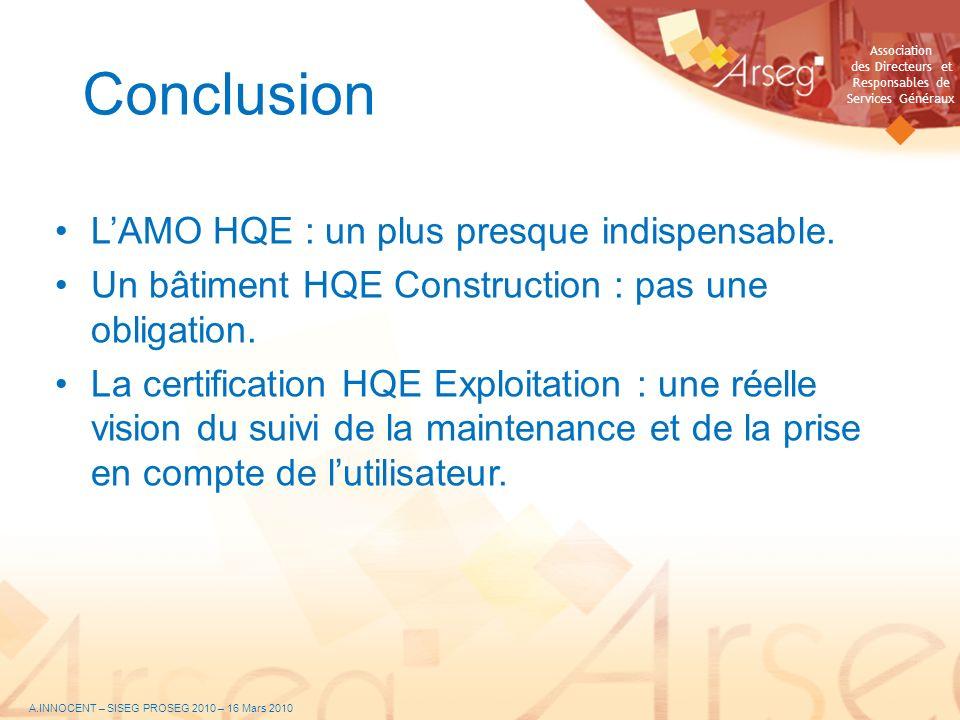 Association des Directeurs et Responsables de Services Généraux Conclusion LAMO HQE : un plus presque indispensable. Un bâtiment HQE Construction : pa