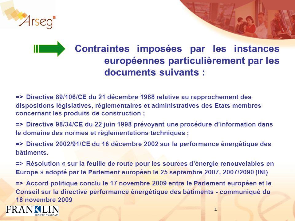Contraintes imposées par les instances européennes particulièrement par les documents suivants : => Directive 89/106/CE du 21 décembre 1988 relative a