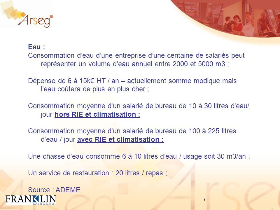 Eau : Consommation deau dune entreprise dune centaine de salariés peut représenter un volume deau annuel entre 2000 et 5000 m3 ; Dépense de 6 à 15k HT