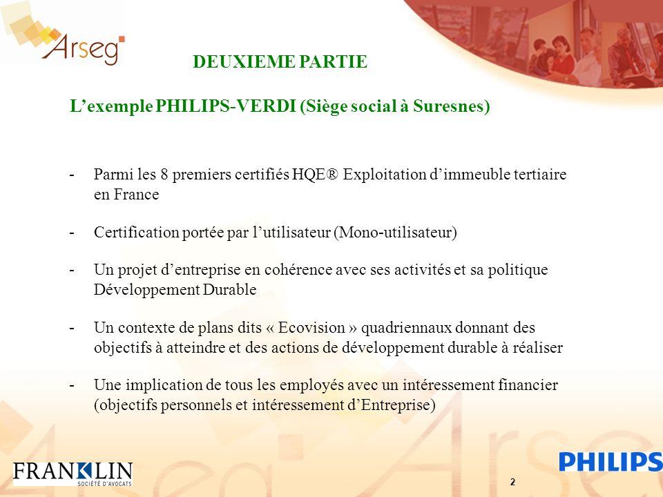 -Parmi les 8 premiers certifiés HQE® Exploitation dimmeuble tertiaire en France -Certification portée par lutilisateur (Mono-utilisateur) -Un projet d