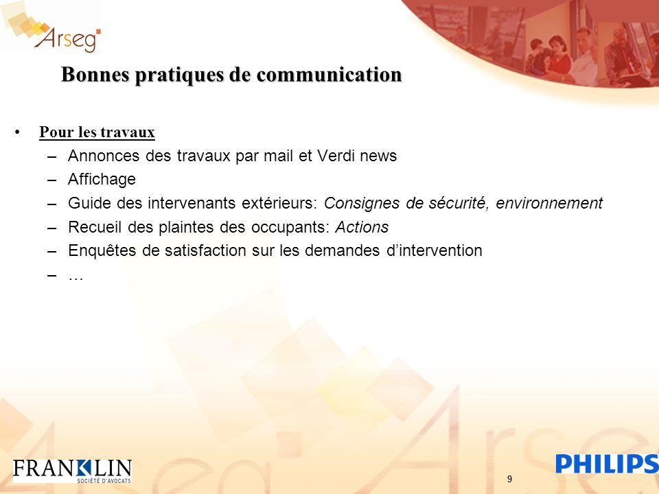 Bonnes pratiques de communication Pour les travaux –Annonces des travaux par mail et Verdi news –Affichage –Guide des intervenants extérieurs: Consign