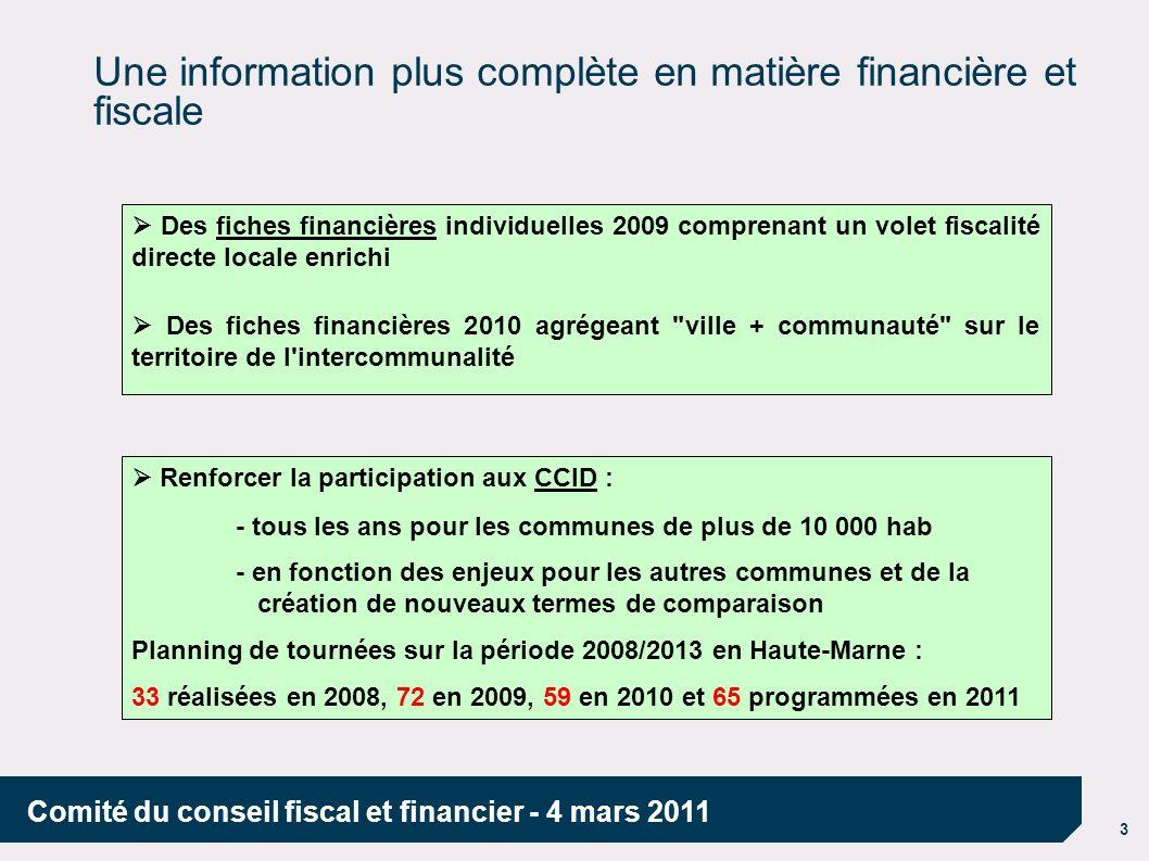 4 Comité du conseil fiscal et financier - 4 mars 2011 Une sécurité juridique accrue par une aide à la gestion des obligations fiscales Le comptable est renforcé dans son rôle d interlocuteur de 1er niveau des collectivités locales : - il répond aux questions les plus courantes, si besoin avec l aide du responsable du SIE - pour les questions plus complexes, il réceptionne la demande et en confie le traitement aux spécialistes du pôle fiscal de la DDFiP - il assure un rôle dalerte et de prévention, notamment par la promotion du rescrit : 10 en Haute-Marne en 2010 En cas d interrogation sur la fiscalité applicable à une situation précise, la procédure du rescrit permet à la collectivité d obtenir une réponse précise de la DGFiP.