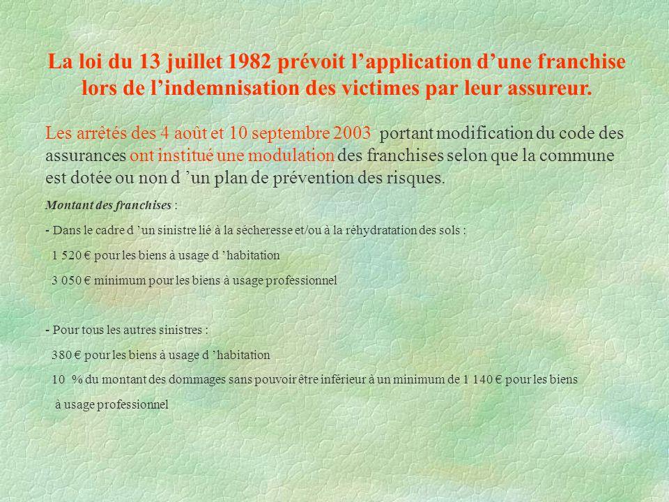 La loi du 13 juillet 1982 prévoit lapplication dune franchise lors de lindemnisation des victimes par leur assureur. Les arrêtés des 4 août et 10 sept