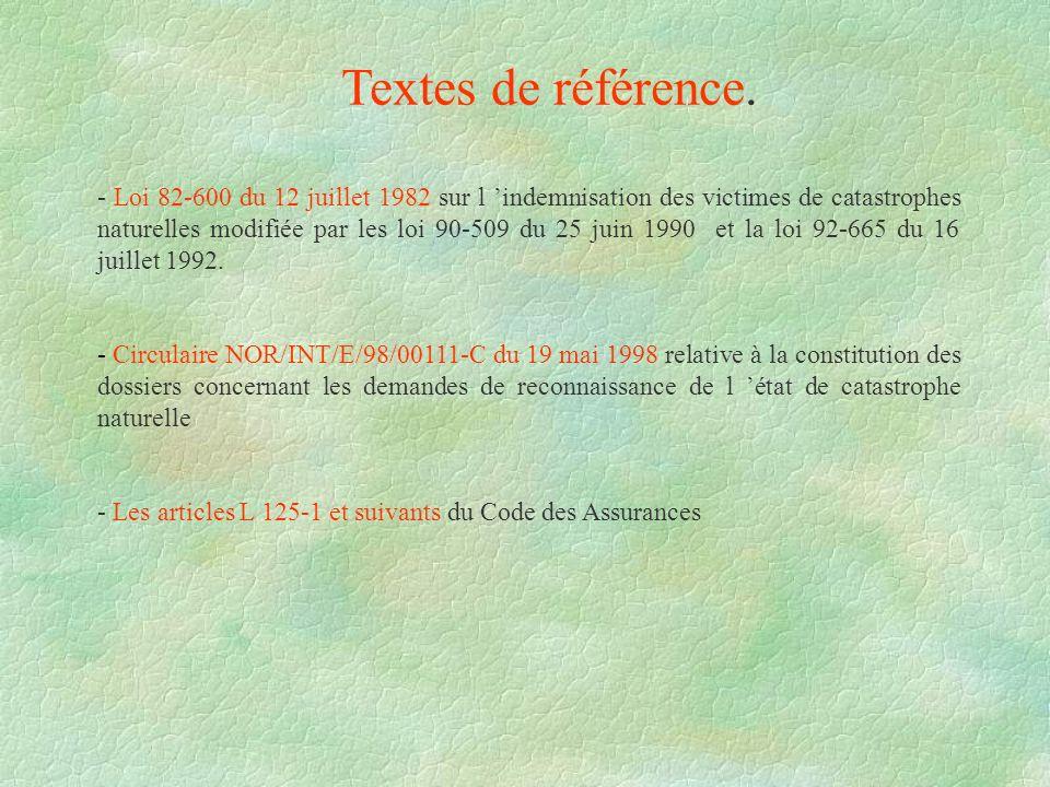 Textes de référence. - Loi 82-600 du 12 juillet 1982 sur l indemnisation des victimes de catastrophes naturelles modifiée par les loi 90-509 du 25 jui