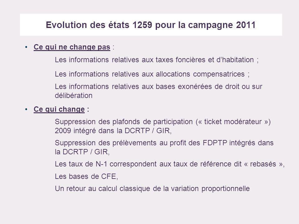 Evolution des états 1259 pour la campagne 2011 Ce qui ne change pas : Les informations relatives aux taxes foncières et dhabitation ; Les informations