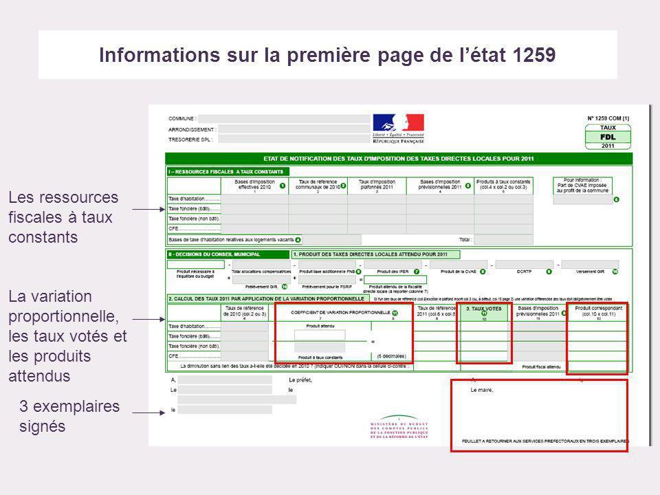 Informations sur la première page de létat 1259 Les ressources fiscales à taux constants La variation proportionnelle, les taux votés et les produits