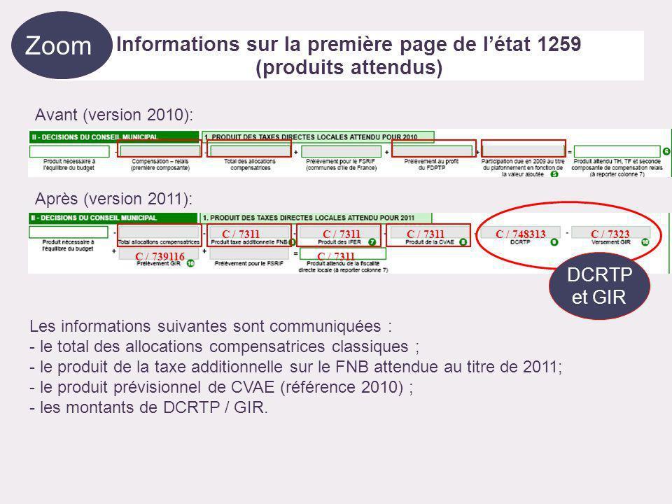 Informations complémentaires sur la deuxième page de létat 1259 Détail des allocations compensatrices, des bases non taxées et produits IFER Eléments utiles au vote des taux C / 74835 C / 74833 C / 748314 C / 74834