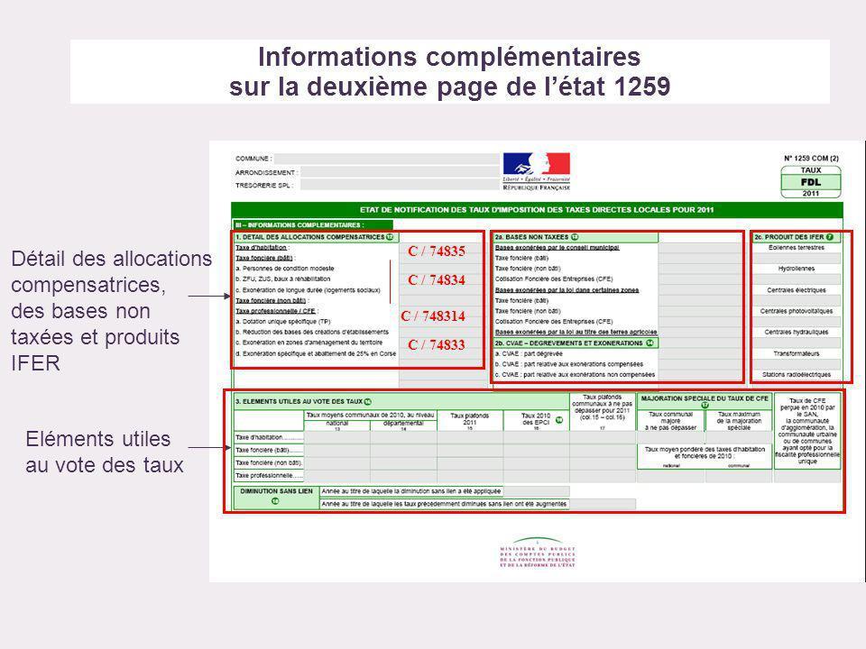 Informations complémentaires sur la deuxième page de létat 1259 Détail des allocations compensatrices, des bases non taxées et produits IFER Eléments