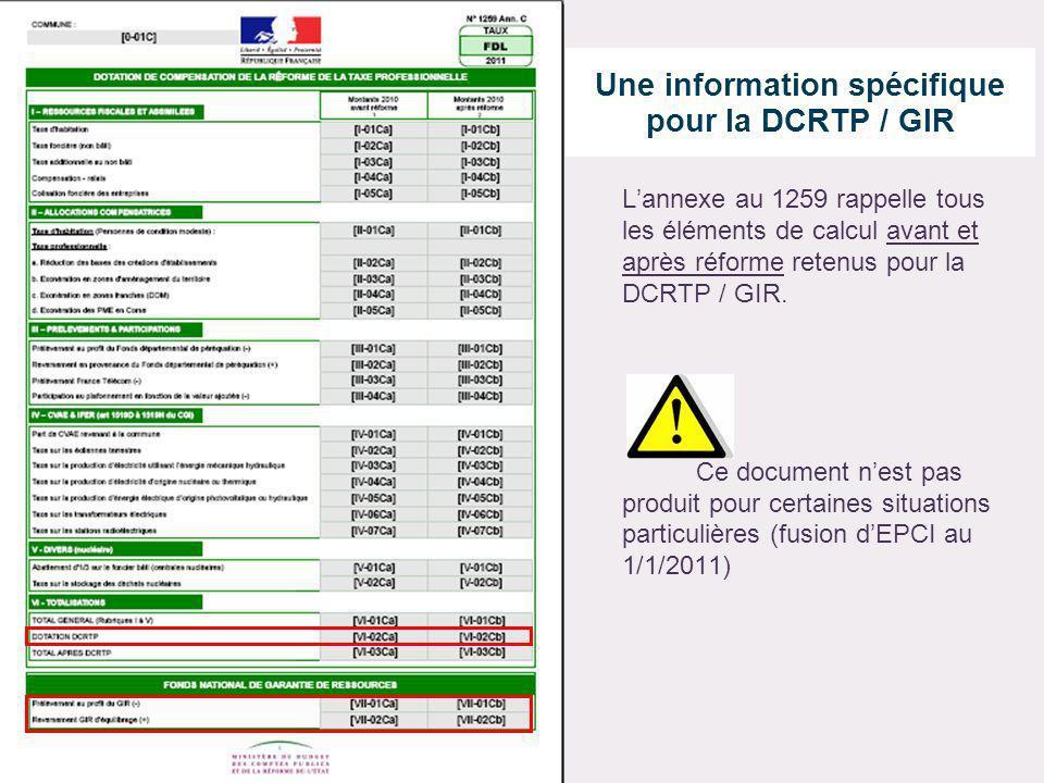 Une information spécifique pour la DCRTP / GIR Lannexe au 1259 rappelle tous les éléments de calcul avant et après réforme retenus pour la DCRTP / GIR