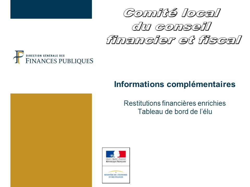 Informations complémentaires Restitutions financières enrichies Tableau de bord de lélu