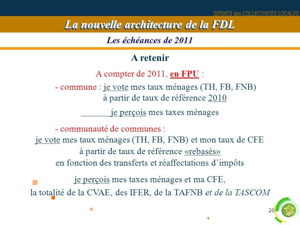 20 Les échéances de 2011 La nouvelle architecture de la FDL A retenir A compter de 2011, en FPU : - commune : je vote mes taux ménages (TH, FB, FNB) à