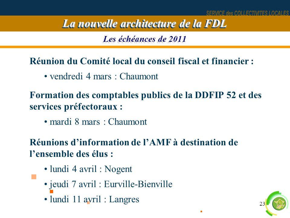 23 Les échéances de 2011 La nouvelle architecture de la FDL Réunion du Comité local du conseil fiscal et financier : vendredi 4 mars : Chaumont Format