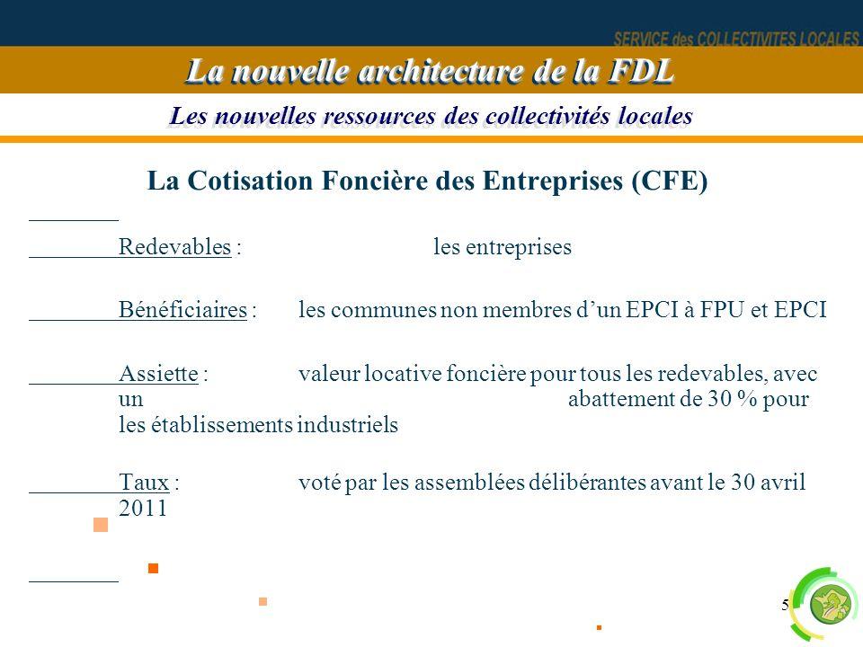 5 Les nouvelles ressources des collectivités locales La nouvelle architecture de la FDL La Cotisation Foncière des Entreprises (CFE) Redevables : les