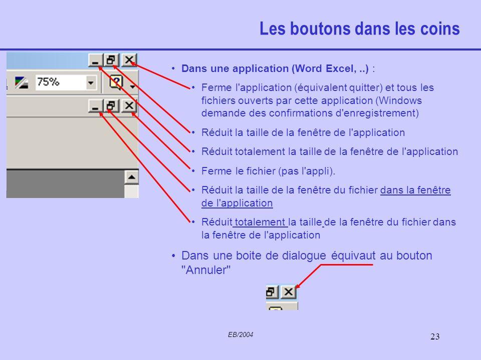 EB/2004 22 Fenêtres Windows, comme son nom l'indique, présente un système de fenêtres. Chaque fenêtre correspond à un des applicatifs que vous avez la